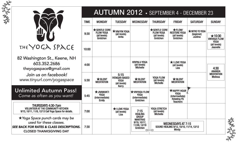 The Yoga Space Fall 2012 schedule